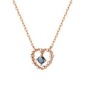14K / 18K泡沫心脏部分蓝钻石项链