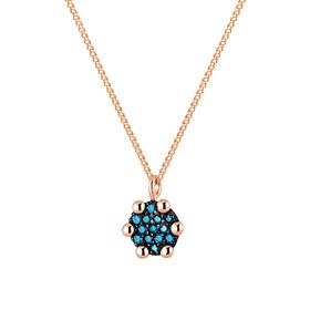 14K / 18K迷你圆形蓝钻石项链