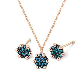 14K / 18K赠送圆形蓝钻石套装[项链+耳环]