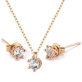 14K Circle Crown套装[项链+耳环] [华洛世奇宝石](Equan出口)