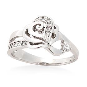 银色心玫瑰eunae插入环