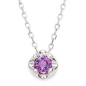 二月诞生3毫米天然紫水晶头饰项链