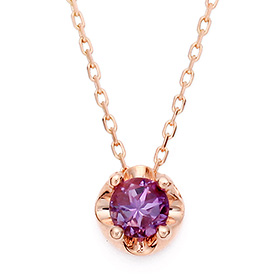 二月诞生4毫米天然紫水晶头饰项链