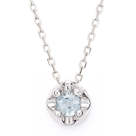 三月诞生3毫米天然海蓝宝石头饰项链