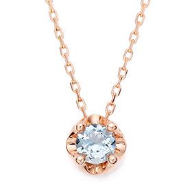 三月诞生4毫米天然海蓝宝石头饰项链