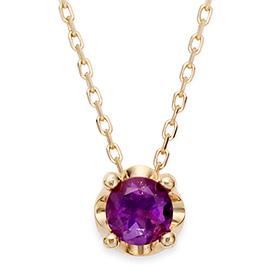 二月诞生5毫米天然紫水晶头饰项链