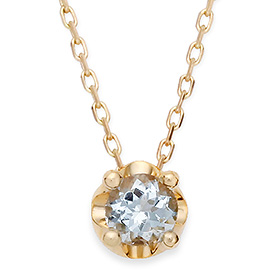 三月诞生5毫米天然海蓝宝石头饰项链