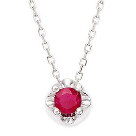 七月诞生3毫米天然红宝石头饰项链