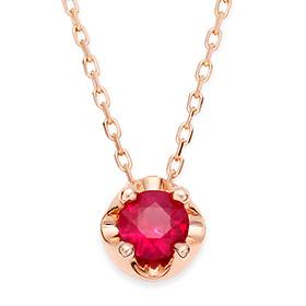 七月诞生4毫米天然红宝石头饰项链