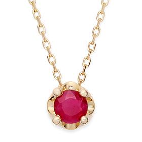 七月诞生5毫米天然红宝石头饰项链