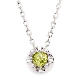 八月诞生3毫米天然橄榄石头饰项链