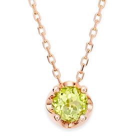 八月诞生4毫米天然橄榄石头饰项链