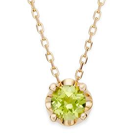 八月诞生5毫米天然橄榄石头饰项链