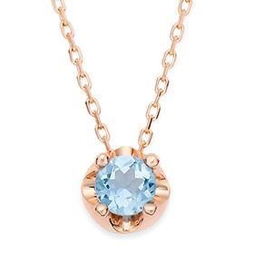 十一月诞生4毫米天然蓝色托帕石头饰项链