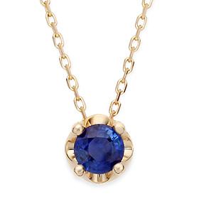 九月诞生石5毫米天然蓝宝石头饰项链