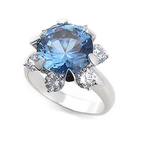 银色咖喱宝石银戒指