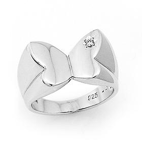 银色白蝴蝶银戒指
