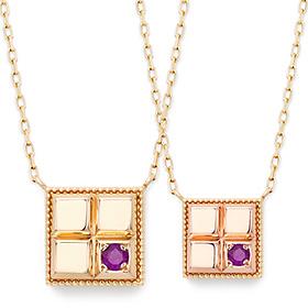 <b>[2月紫水晶]</b> <br> 14K / 18K综合自然诞生石项链巧克力