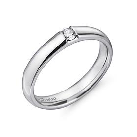 铂[的Pt950]3.5毫米1单位体积金刚石铂环应该推出