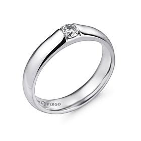 铂[的Pt950]4.0毫米2单位体积金刚石铂环应该推出