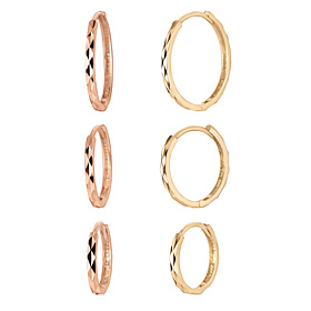 14K圆形切割耳环[3对妇女1] [艾滕出口]