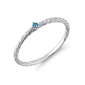 铂金[na Pt950]蓝绳蓝钻石铂金戒指