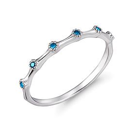 铂金【理想Pt950】蓝色眼睛蓝钻石铂金戒指