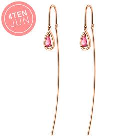 14K Potenza粉红色吊坠长耳环