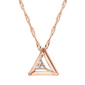 14K三角形立方体项链