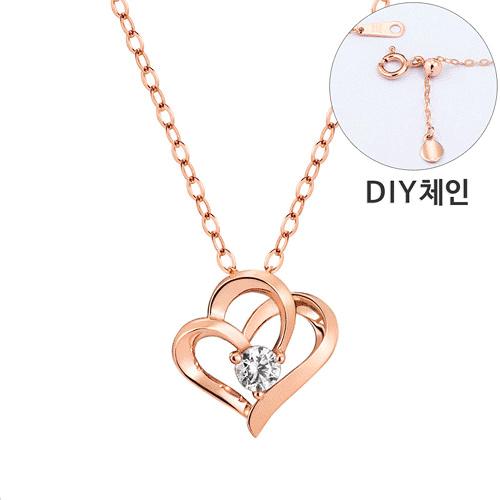 [第一部分情绪] <br> 14K / 18K Hug Heart 1件钻石项链[DIY链条] [Equinox出口]
