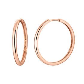 14K / 18K扁币(大)耳环[三个家庭1]